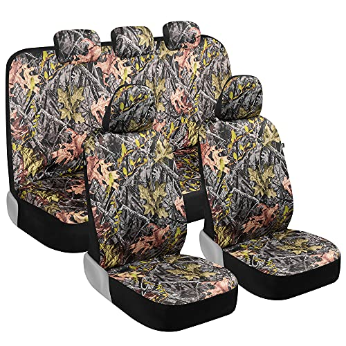 BDK Camo Car Seat Covers Full Set – Realistic Green Forest Camouflage...