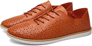 [QIFENGDIANZI] メンズ カジュアルシューズ デッキシューズ 靴 ドライビングシューズ スニーカー 紳士靴 ローカット アウトドア オシャレ スリッポン コンフォート ホワイト ブルー ブラック オレンジ
