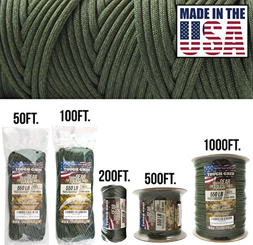 TOUGH-GRID 550lb Camo Green Paracord/Parachute Cord - 100% Nylon Mil-Spec Type III Paracord Used by The US Military, Great for Bracelets and Lanyards, Made in The USA 100Ft. - Camo Green
