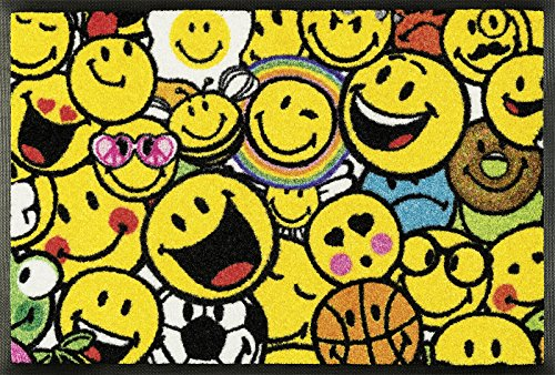 Wash&Dry 088332 Smiley Allover Fußmatte, Acryl, Gelb, 40 x 60 x 0.7 cm