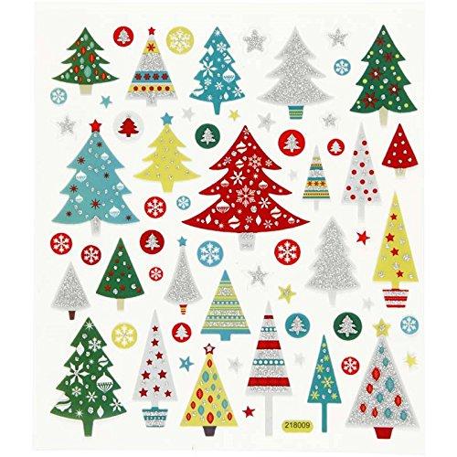 alles-meine.de GmbH Set Sticker / Aufkleber - Weihnachtsbaum mit Glitzer Weihnachten Winter Schnee Geschenke
