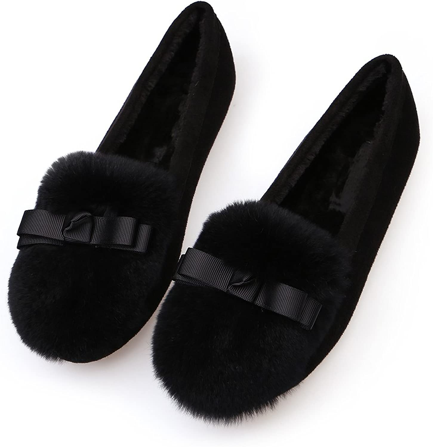 QZUnique Women Soft Sole Moccasin Slippers Round Toe Bowknot Decor Flat Loafers shoes