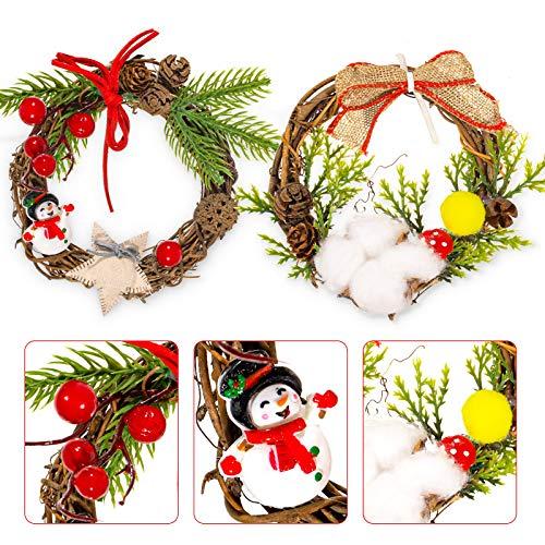 Whaline, mini ghirlanda natalizia da appendere a forma di pupazzo di neve, in cotone, piccolo anello di candela in rattan, per feste invernali, porte, porte, finestre, artigianato, confezione da 2