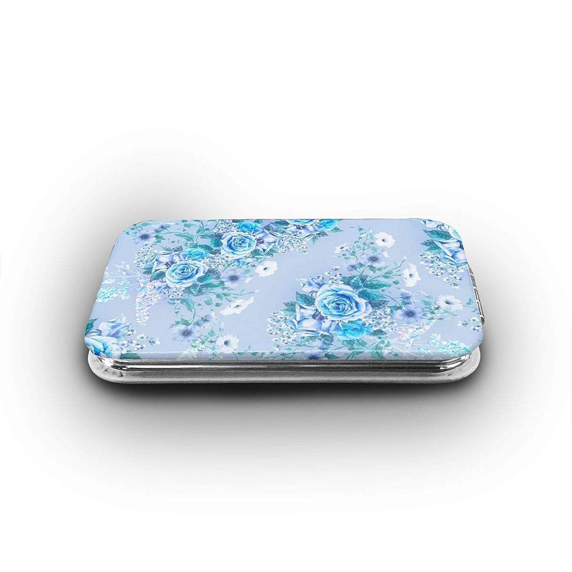 青のバラ 携帯ミラー 手鏡 化粧鏡 ミニ化粧鏡 3倍拡大鏡+等倍鏡 両面化粧鏡 角型 携帯型 折り畳み式 コンパクト鏡 外出に 持ち運び便利 超軽量 おしゃれ 9.8X6.6CM