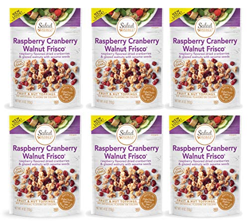 Salad Pizazz   Raspberry Cranberry Walnut Frisco   Salad Topper   4OZ (Pack of 6 - 4 Ounce Bags)   Non-GMO, All-Natural, Kosher