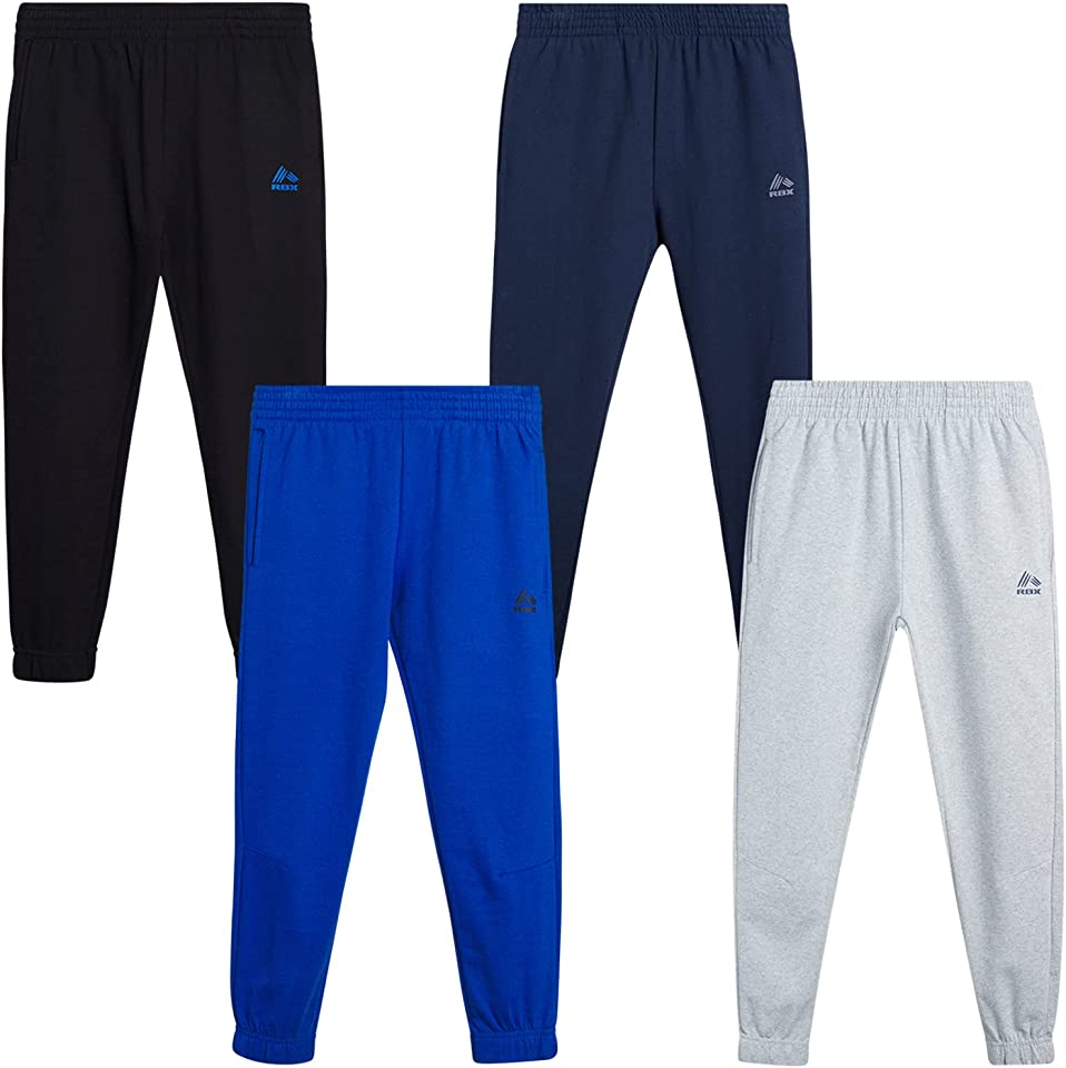 RBX Boys' Sweatpants - Active Joggers Warm-Up Track Pants (4 Pack)