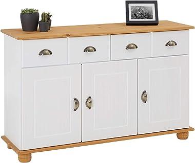 IDIMEX Buffet Colmar Commode bahut vaisselier Meuble Bas Rangement avec 2 tiroirs et 3 Portes battantes, en pin Massif lasuré