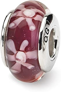 925 Sterling Silver Charm For Bracelet Purple Floral Hand Blown Glass Bead Glas H Fine Jewelry Gifts For Women For Her