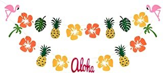 Hawaiian Luau Garland Ribbon Banners - Summer Tropical Hibiscus Flowers Pineapple Flamingo Summer Pool Party Birthday Party Decorations Supplies by Ucity