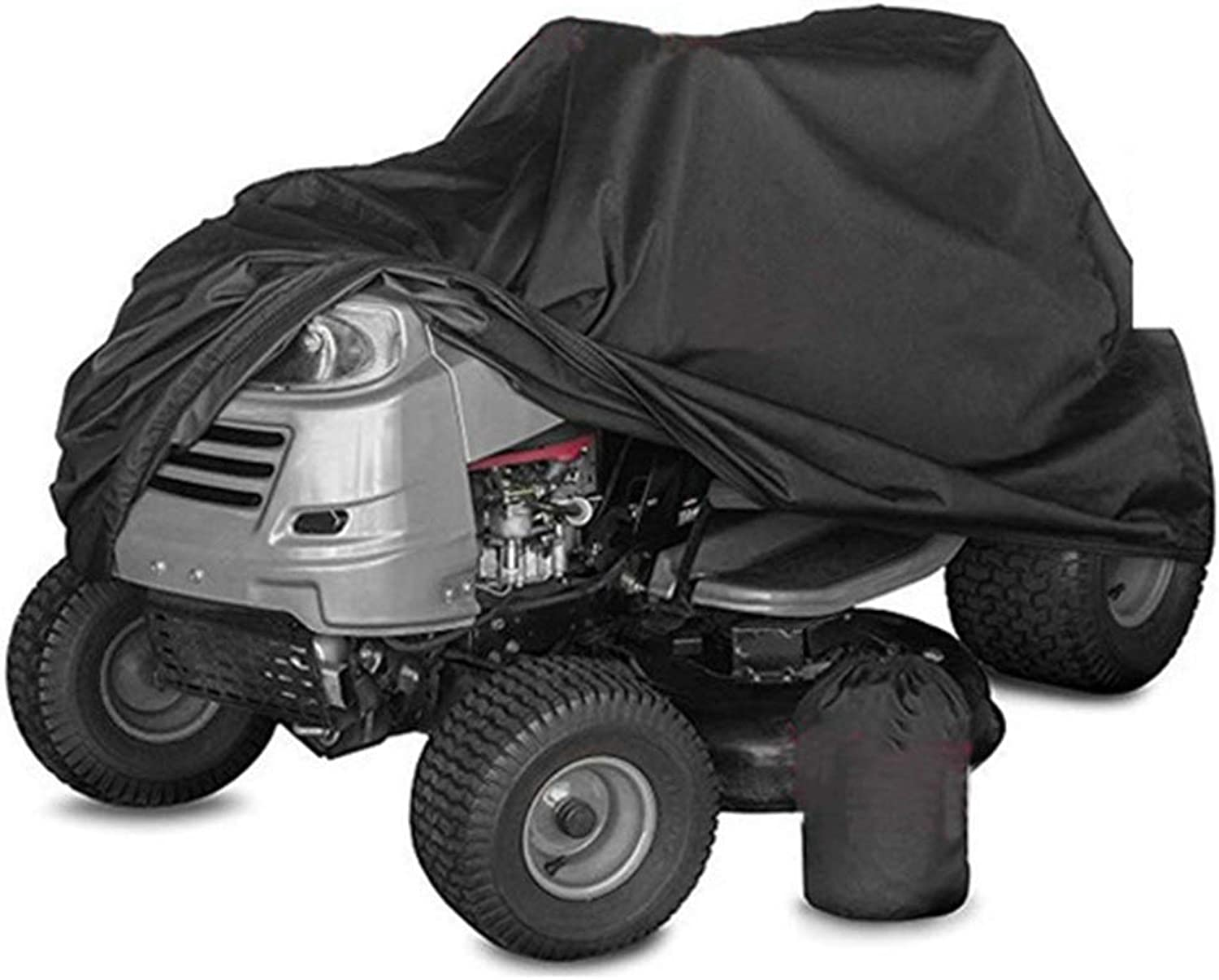 Outdoors Lawn Mower Cover - Garden Tractor Cover Waterproof Heavy Duty Durable Polyester Oxford, UV Predection, Black (Size   245x50x140cm)