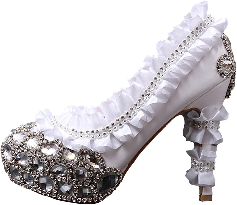 HSDJ Ladies' Platform Rhinestones Evening Party Stiletto Wedding shoes