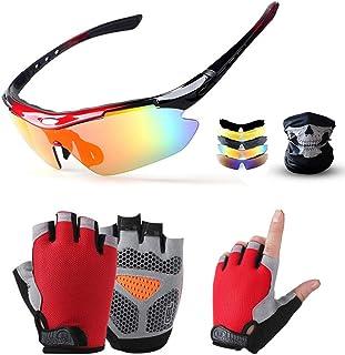 SENSHELN Cycling Bike Glasses and Gloves Set Polarized Sports Sunglasses with 5 Interchangeable Lens Foam Pad Shockproof B...