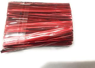 JoyGlobal Aluminium Metallic Red Chocolate Twisters Ribbon Ties Twist Ties Chocolate Decorating Tool (Pack of 400 Pieces)