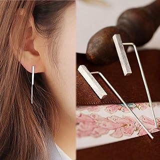 GEDASHU Earrings 925 Sterling Silver Vertical Bar Wedding Dangle Earrings for Women Long Silver Earrings Party Fashion Jewelry