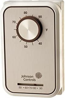 Johnson Controls T22SFB-1C Penn Series T22 Line Voltage Wall Thermostat, Heating and Cooling, Knob Adjustment, SPDT Application, Separate Load, Heat-Off-Cool Switch, 1 & 1.3°C Differential
