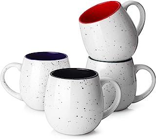 لیوان قهوه LIFVER 20 اونس ، لیوان بزرگ ظروف چینی برای قهوه ، چای ، کاکائو ، هدیه گرم کننده خانه ، مجموعه 4 ، چند رنگ