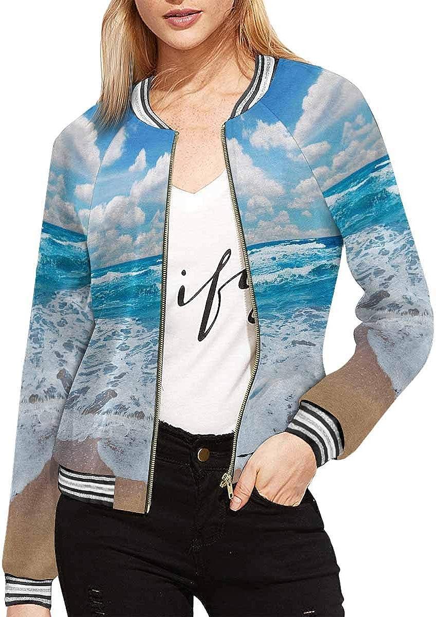 InterestPrint Women's Stand Collar Long Sleeve Zipper Bomber Jacket
