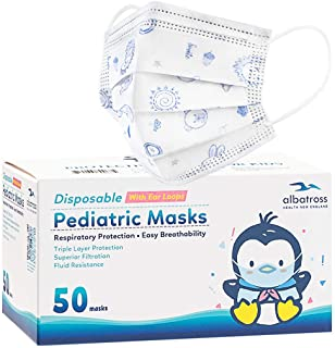 50 Pack Disposable Kids Face Mask. Breathable 3-Ply Anti-Dust/Saliva/Smog For Children Boys and Girls