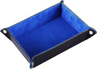 Yourandoll ダイストレイPUレザー折りたたみダイスホルダーブルーベルベットRPGのためのローリング表面DNDダイステーブルゲーム 27 x 20 cm