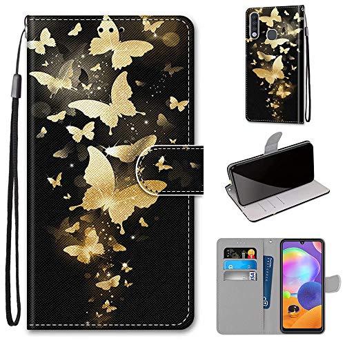 Miagon Flip PU Leder Schutzhülle für Samsung Galaxy A70e,Bunt Muster Hülle Brieftasche Case Cover Ständer mit Kartenfächer Trageschlaufe,Gold Schmetterling