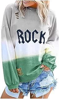 Gradient Crew Neck Pullover Top Long Sleeve Colorblock Sweatshirts VigorY㉿ Women Stripe T-Shirt Tie Dye Blouse Top