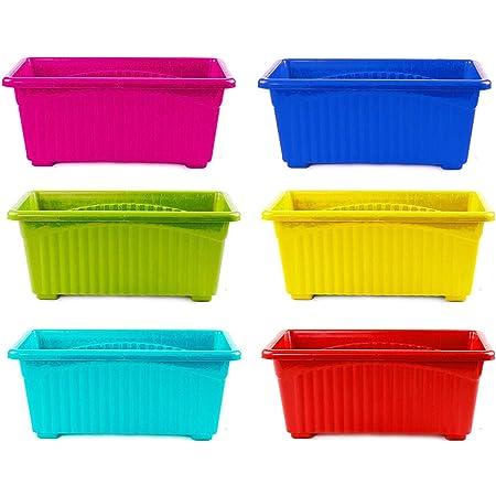 Go Hooked Multicolor Rectangular Plastic Pots for Plants, Jupiter Flower Pots for Home, Window Display, Garden (Set of 6) (35 x 18.5 x 15 cm)