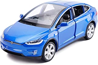 ZY Modelo de Coche Tesla X Todoterreno SUV uno y Treinta y Dos de simulación de fundición a presión de aleación de Juguete Modelo de Coche decoración Azul 15x5.5x4.5CM LOLDF1
