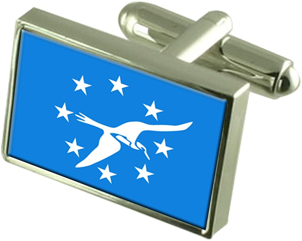 Corpus Christi City USA Sterling Silver Now on sale Engraved Flag Cufflinks Over item handling ☆