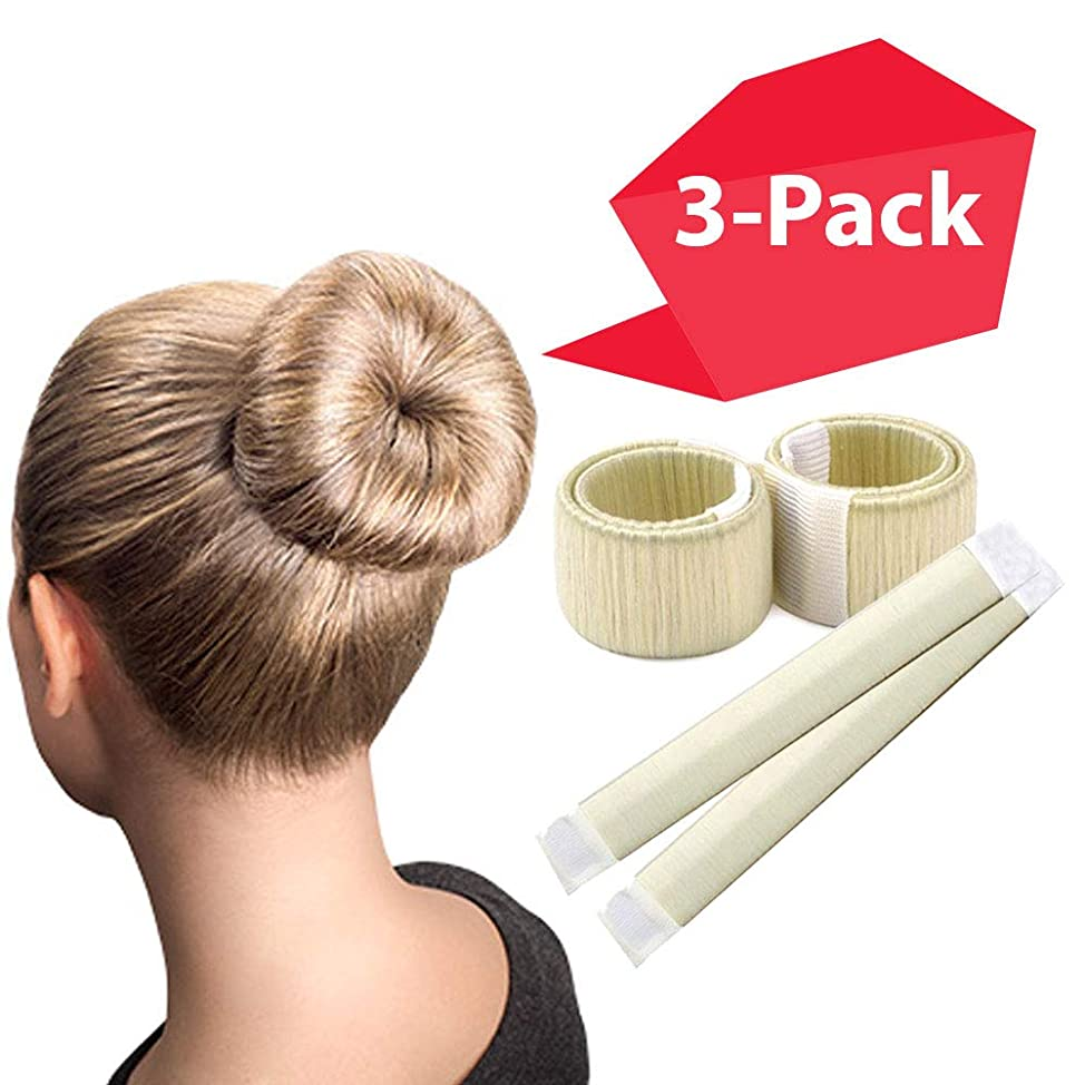 Blonde Magic Bun Makers 3-PACK | The NEW way to Donut Your Hair | Perfect Hair Bun Maker | Hair Donuts for Updos | Easy Bun Hair Tool | Kids Ballerina Bun | Bun Shaper | Bun Hair Tool | Bun Donut
