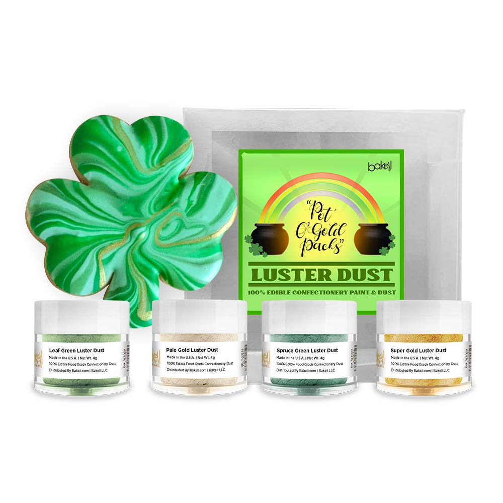 BAKELL Edible Luster Dust Paint 4 Max 52% OFF St. PC Free shipping anywhere in the nation Patty's Combo Pac Day