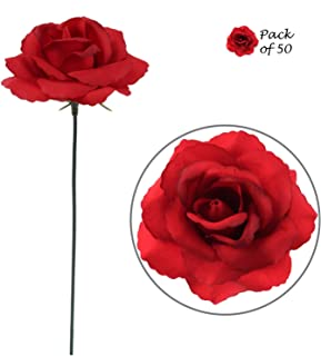 Dark Red Silk Rose Picks - 50 pcs - Real Look Fabric Artificial Roses with Flexible Ready-to-Cut 8