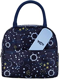 Beyond 280 Stylish Lunch Bag with Portable 3 Piece Flatware Set for Women and Teen Girls Cute Insulated Lunch Box for Work School Travel (Navy)