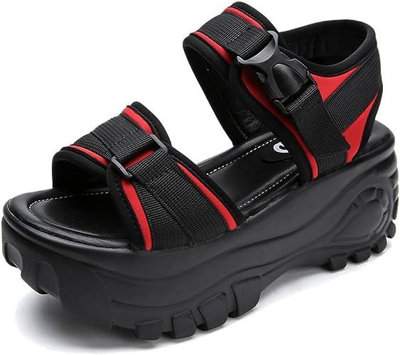 FEI Sandales 7 cm Sandales de d'épaisseur étudiantes féminines Sandales d'été Chaussures Romaines Chaussures de Sport Universitaire (Rouge Noir) Antidérapant