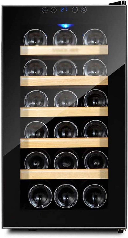 TYUIOYHZX Frigorífico de Vino, refrigerador de Vino de 18 Botellas, refrigerador de Vino Independiente con Rayos Anti-UV/Puerta de Vidrio Templado Anti-escarfranza, compresor de Alta eficiencia
