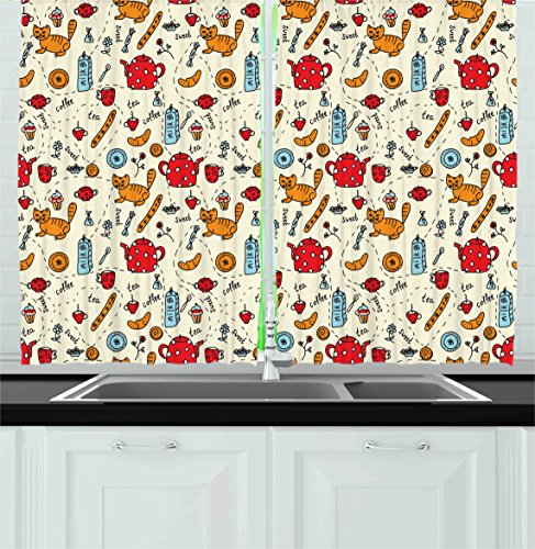 Ambesonne Cartoon Kitchen Curtains, Cats Tea and Sweets Coffee Muffins Milk and Bread Cartoon Style Doodle Art, Window Drapes 2 Panel Set for Kitchen Cafe Decor, 55' X 39', Orange Cream