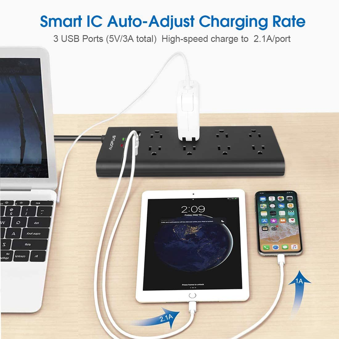 Power Strip with USB, AUOPLUS Surge Protector with 8 Outlets and 3 USB Ports 6Ft Extension Cord Flat Plug/Wall Mountable Grounded,Desktop Charging Station for Computer Laptops Smartphone Home Office