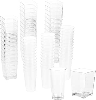 72-Piece Plastic Shot Glass and Square Dessert Cup, Disposable Wall Shooter, Appetizer Cups for Parties, Weddings and More, 3 Oz and 5 Oz