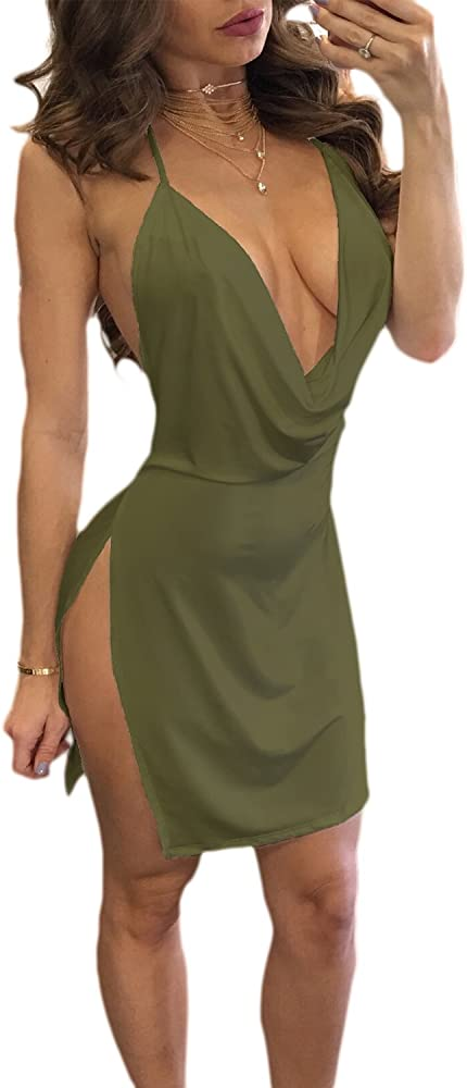 Vosujotis, vestito scollato sexy per donna, verde, in poliestere ITCI087B