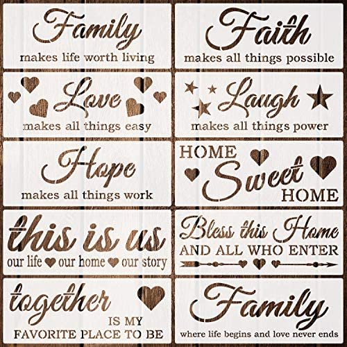 Coocamo 10 Pack Word Stencils Reusable Family Stencils Home Sign Stencils for Painting on Wood product image