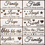 Coocamo 10 Pack Word Stencils Reusable Family Stencils Home Sign Stencils for Painting on Wood, Porch, Front Door, Wall and More