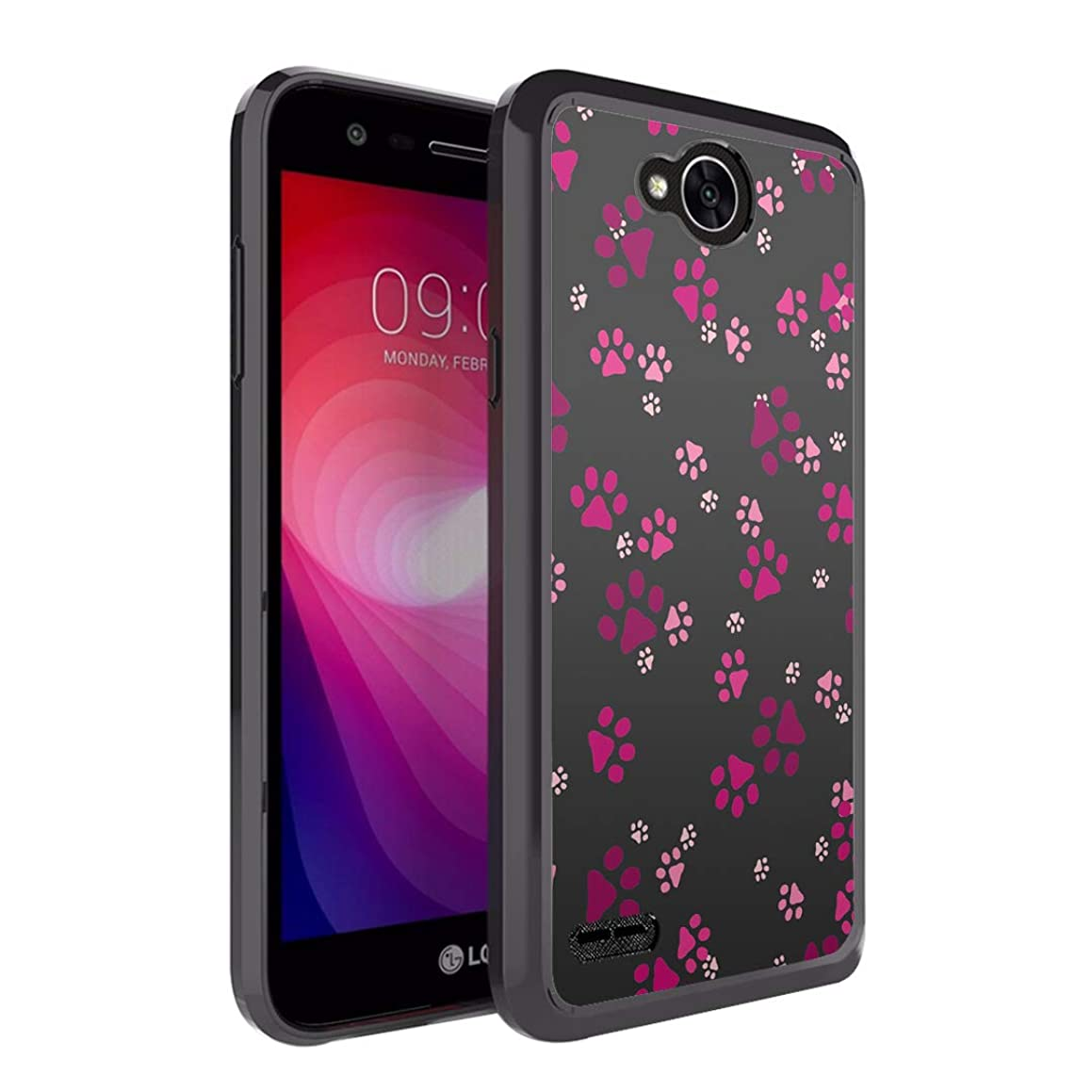 Moriko Case Compatible with LG Fiesta 2, LG X Power 2, LG X Charge, Fiesta LTE, K10 Power, LS7 4G LTE [Drop Protection Slim Bumper Case Black] for LG X Power 2 - (Paw Print Pink)