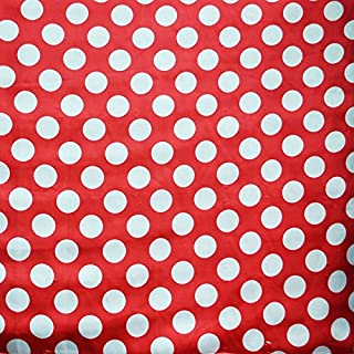 Red / White Satin Polka Dot Charmeuse Fabric 58 inches / 60 inches width sold by the yard