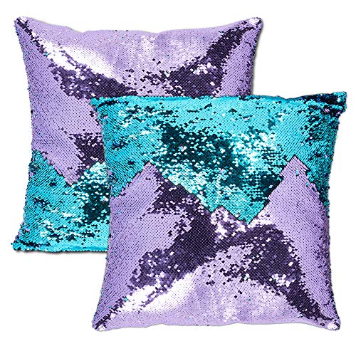 Juvale Reversible Sequin Throw Pillow Covers, Mermaid Décor (18 x 18 in, 2 Pack)