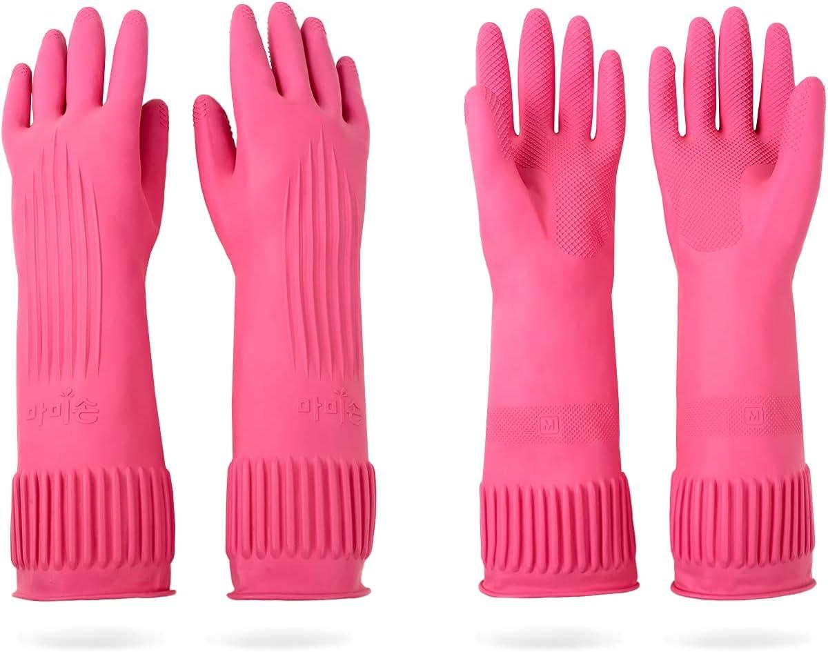 DABOGOSA Mamison 2 Pairs Reusable Waterproof Household Dishwashing Cleaning Rubber Gloves, Non-Slip Kitchen Glove(Medium) : Health & Household