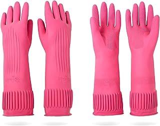 دستکش های لاستیکی تمیز کننده ظرفشویی خانگی ضد آب ممیسون ، دستکش آشپزخانه ضد لغزش (متوسط) - بسته 2
