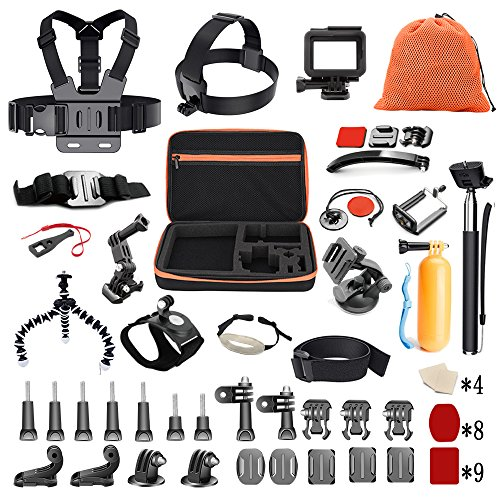 Pieviev 60-in-1 Action Cam Kamera Zubehör Set für GoPro Hero 6 Hero 5 Black 7 4 3+ 2018 Zubehör Sportkameras YI 4K Apeman AKASO ROLLEI SJ4000/SJ5000/SJ5000X/SJ6 DBPOWER VicTsing Action Cam (58-IN-1)
