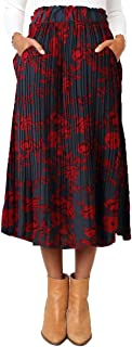 Astraet Women's High Waist Polka Dot Leopard Pleated Midi Skirt with Pockets