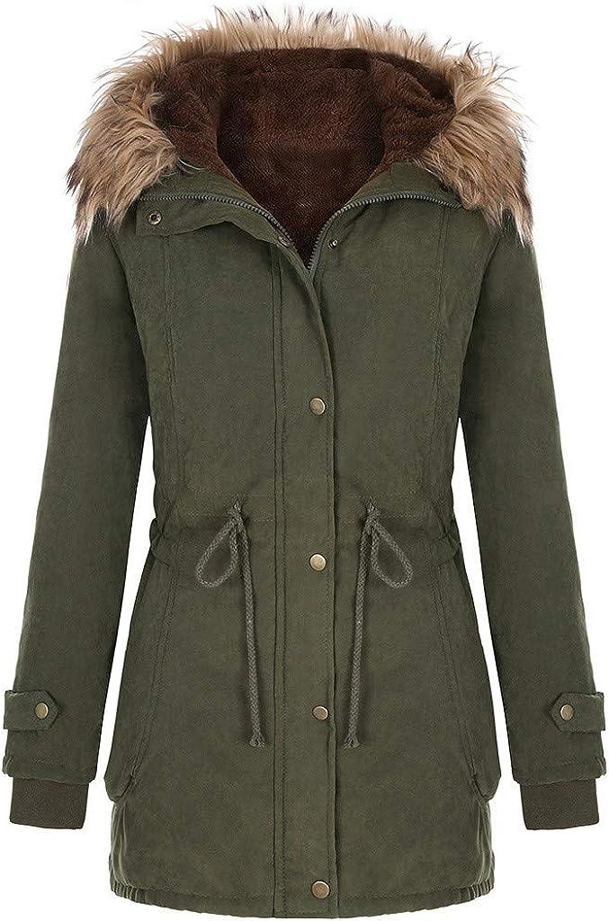 HGWXX7 Womens Coats Faux Fur Hood Fleece Lined Outerwear Plus Size Long Sleeve Full Zip Parka Jacket with Pocket