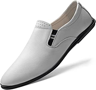 RongAi Chen Leisure Driving Loafers for Men Round Toe Oxfords Casual Flat Penny Shoes Slip-on Soft Genuine Leather Lightweight Non-Slip (Color : White, Size : 7.5 UK)