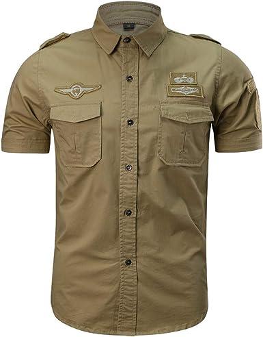 Camisetas Hombre Manga CortCamisa de Trabajo Hombres Moda Camisas Casual para Hombres Militares Color Puro Bolsillo Manga Corta Camiseta Suelta Tops